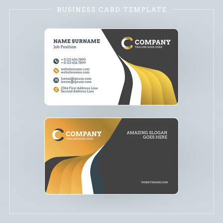 Double-sided Business Card Template with Abstract Golden and Black Waves Background. Vector Illustration. Stationery Design