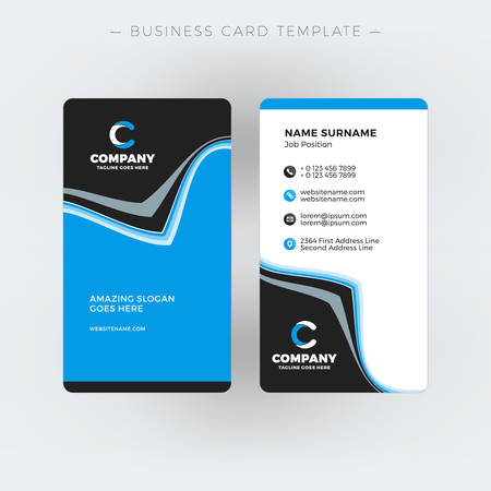 Vertical double sided business card template vector illustration vertical double sided business card template vector illustration stationery design stock vector cheaphphosting Images