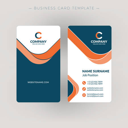 Vertical double-sided business card template. Vector illustration. Stationery design