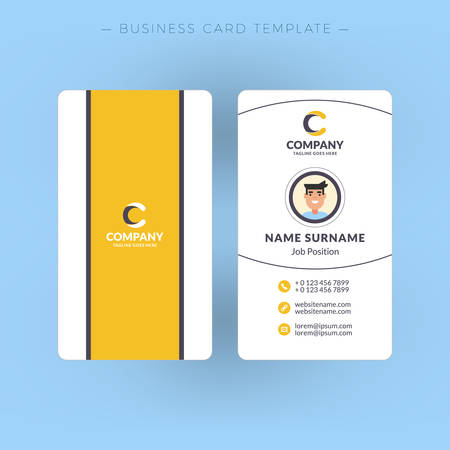 surname: Vertical double-sided business card template. Vector illustration. Stationery design