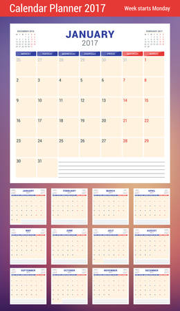 meses del año: Calendar Planner Template for 2017 Year. Week Starts Monday. 3 Months on Page. Set of 12 Months. Place for Notes. Stationery Design. Vector Calendar Template