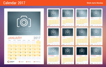 week planner: Wall Calendar Planner Template for 2017 Year. Design Template with Place for Photo. Week starts Monday. Vector Illustration