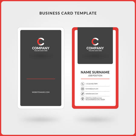 Vertical Doublesided Business Card Template Red And Black Colors - Front and back business card template