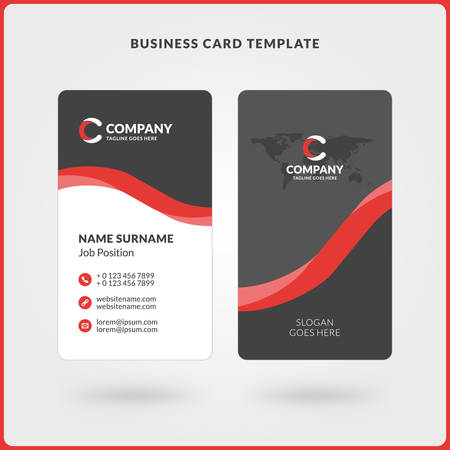 Vertical double sided business card template red and black colors vector vertical double sided business card template red and black colors flat design vector illustration stationery design cheaphphosting Images