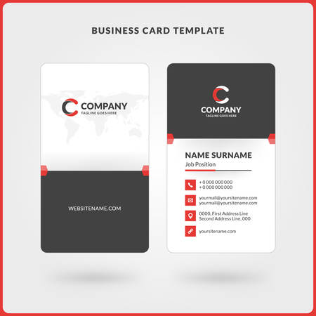 Vertical double sided business card template red and black colors vector vertical double sided business card template red and black colors flat design vector illustration stationery design accmission Gallery