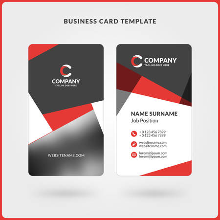 surname: Vertical Double-sided Business Card Template. Red and Black Colors. Flat Design Vector Illustration. Stationery Design
