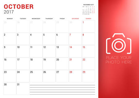 week planner: Calendar Planner Template for October 2017. Week Starts Monday. Place for Photo. Stationery Design. Vector Illustration