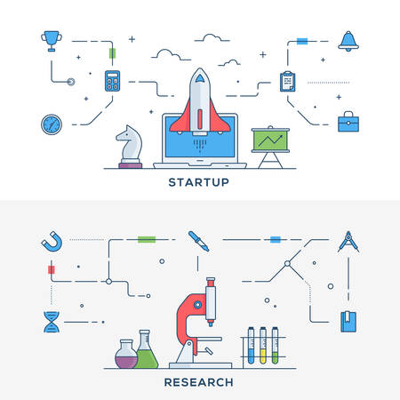 sceince: Set of flat line business website banner templates. Startup. Research. Vector illustration concept for web banners and promotional materials.