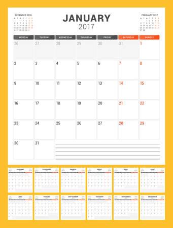week: Calendar Template for 2017 Year. Week Starts Monday. Set of 12 Months. Stationery Design. Vector Illustration Illustration