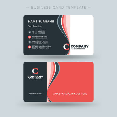 Doublesided Business Card Template With Abstract Red And Black - Double sided business card template