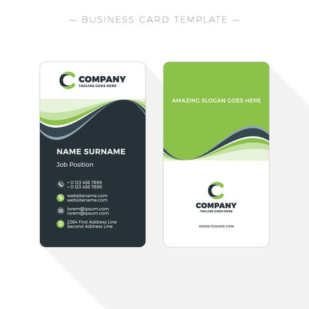 Vertical Double-sided Business Card Template with Abstract Green and Black Waves Background. Vector Illustration. Stationery Design
