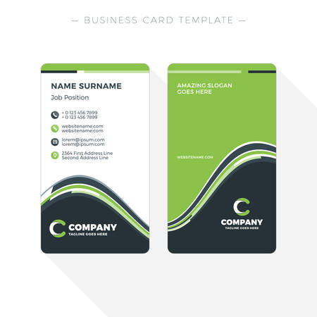 green card: Vertical Double-sided Business Card Template with Abstract Green and Black Waves Background. Vector Illustration. Stationery Design