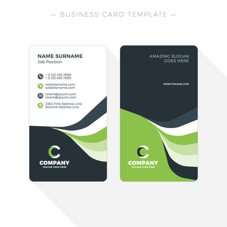 Vertical Double Sided Business Card Template With Abstract Green