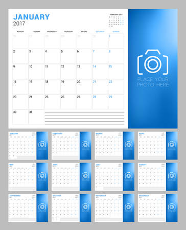 Set of Calendar Pages for 2017 Year. Week Starts Monday. Place for Photo. Stationery Design. Vector Illustration