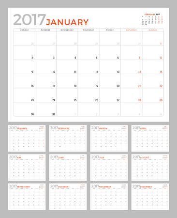 Set of Calendar Pages for 2017 Year. Vector Design Template. Week Starts Monday. Stationery Design