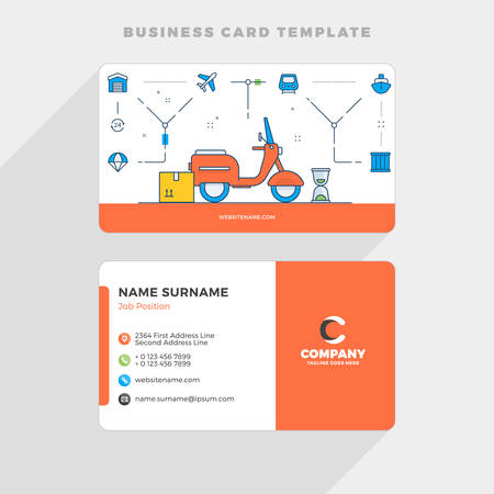 Creative Business Card Template with Flat Line Illustration. Delivery. Vector Illustration. Stationery Design