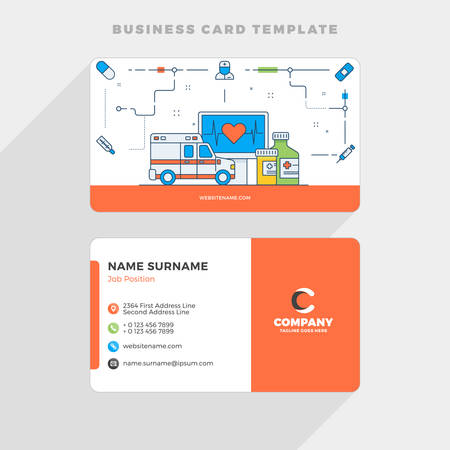 Creative Business Card Template with Flat Line Illustration. Healthcare. Vector Illustration. Stationery Design
