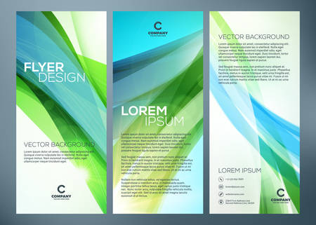 Business trifold brochure or banner template. Abstract green wave background. Vetores