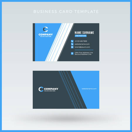 surname: Double-sided Blue Business Card Template. Vector Illustration. Stationery Design