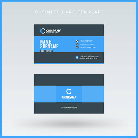 Double-sided Blue Business Card Template. Vector Illustration. Stationery Design