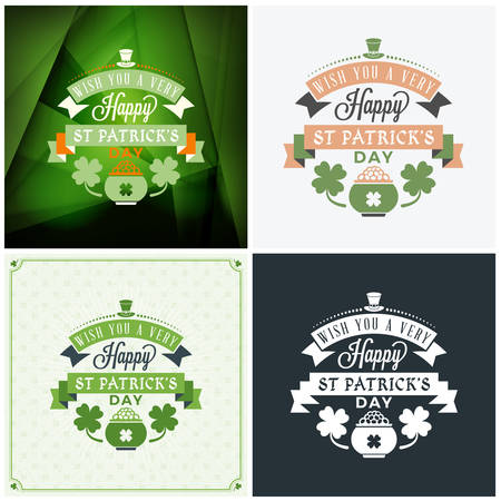 St. Patricks Day badge design. Set of vector typographic posters or greetings cards. Saint Patricks Day backgrounds