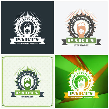 fourleaf: St. Patricks Day badge design. Set of vector typographic posters or greetings cards. Saint Patricks Day backgrounds