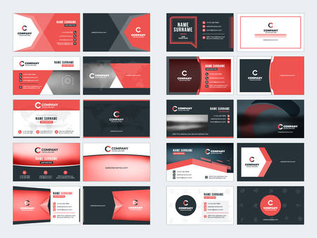 surname: Collection of double-sided business card vector templates. Stationery design vector set