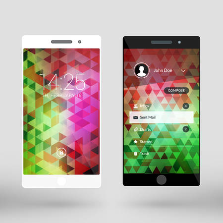 Mobile interface wallpaper design. Abstract vector pattern. Modern smartphone application interface elements. Black and white smartphones
