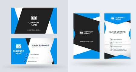 vertical orientation: Double-sided creative business card template. Portrait and landscape orientation. Horizontal and vertical layout. Vector illustration