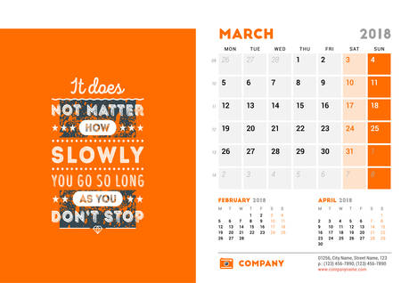 Calendar Template for 2018 Year. March. Design Template with Motivational Poster. 3 Months on Page. Week starts on Monday. Vector Illustration