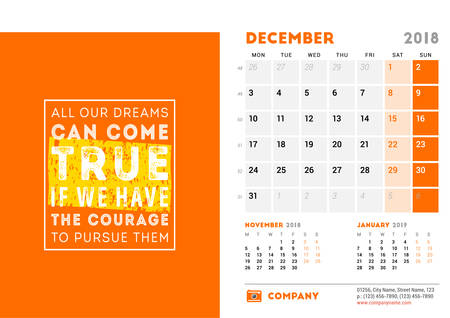 Calendar Template for 2018 Year. December. Design Template with Motivational Poster. 3 Months on Page. Week starts on Monday. Vector Illustration Illustration