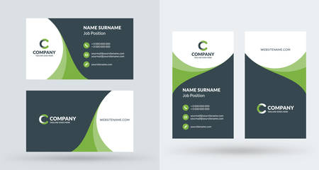 Double sided creative business card template portrait and landscape double sided creative business card template portrait and landscape orientation horizontal and vertical fbccfo Images