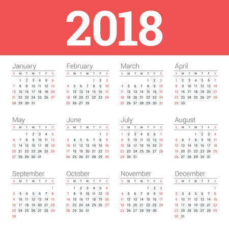 Calendar for 2018 Year on White Background. Week Starts on Sunday. 4 columns, 3 rows. Simple Vector Template. Stationery Design Illustration