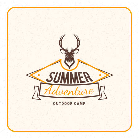 Summer holidays camping poster. Summer adventures and outdoor activities label. Vector illustration with yellow and brown colors on textured background