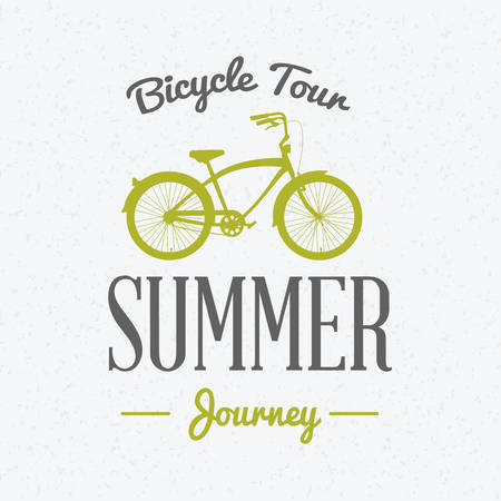 Summer holidays poster. Bicycle journey label. Bicycles for rent. Vector illustration with green and gray colors on textured background Illustration