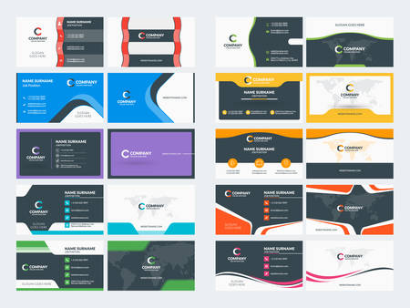 Double sided business card templates. Stationery design vector set. Vector illustration Illustration
