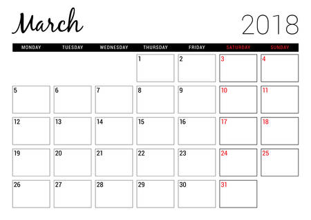 event planning: March 2018. Printable calendar planner design template. Week starts on Monday. Stationery design