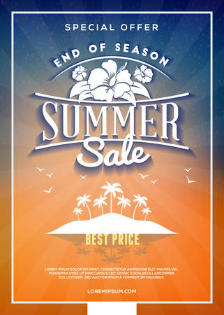 Summer sale flyer or banner. Summer discount label. Typography retro style label. Vector design template with colorful abstract background Illustration