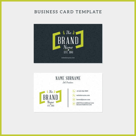 surname: Double-sided vintage business card template with retro typographic logo and black textured background. Vector illustration. Stationery design
