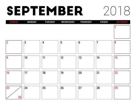 event planning: Printable calendar for September 2018. Planner design template. Week starts on Sunday. Stationery design