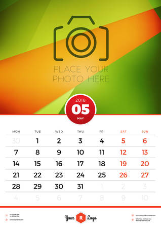 Wall Calendar Template for 2018 Year. May. Vector Design Template with Abstract Background. Place for Photo. Week starts on Monday. Portrait Orientation
