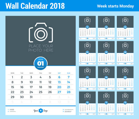 Wall Calendar Template For 2018 Year Vector Design Template