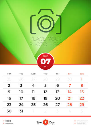 Wall Calendar Template for 2018 Year. July. Vector Design Template with Abstract Background. Place for Photo. Week starts on Monday. Portrait Orientation