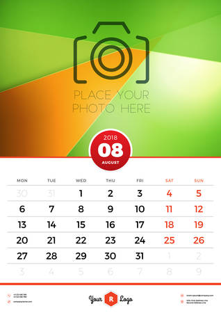 Wall Calendar Template for 2018 Year. August. Vector Design Template with Abstract Background. Place for Photo. Week starts on Monday. Portrait Orientation