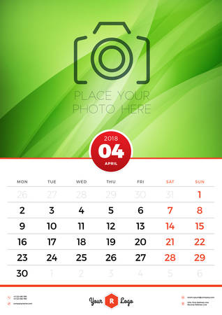 Wall Calendar Template for 2018 Year. April. Vector Design Template with Abstract Background. Place for Photo. Week starts on Monday. Portrait Orientation