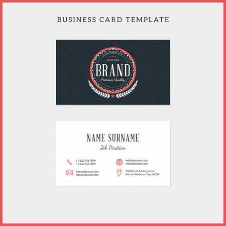 surname: Double-sided vintage business card template with retro typographic logo and black textured background. Illustration
