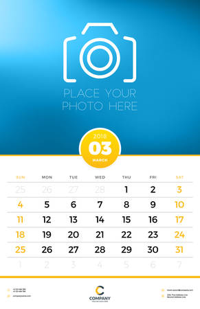 Wall Calendar Template for 2018 Year. March. Vector Design Template with Place for Photo. Week starts on Sunday