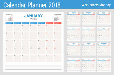 Calendar planner for 2018 year. Vector design print template. Week starts on Monday. Stationery design. Blue and red colors Ilustração