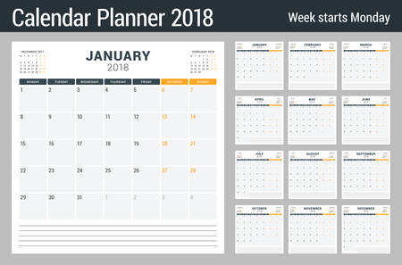 Calendar planner for 2018 year. Vector design print template. Week starts on Monday. Stationery design. Black and orange colors 向量圖像