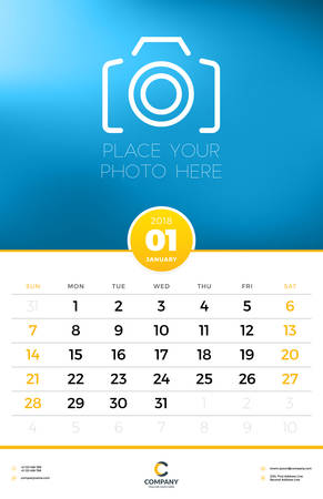 Wall Calendar Template for 2018 Year. January. Vector Design Template with Place for Photo. Week starts on Sunday
